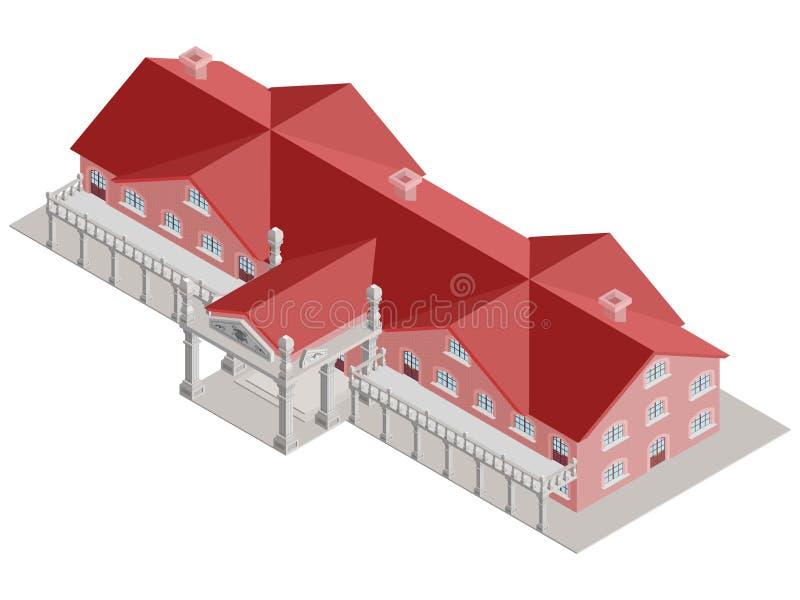 Administracyjnego budynku isometric wektor z czerwień dachem royalty ilustracja