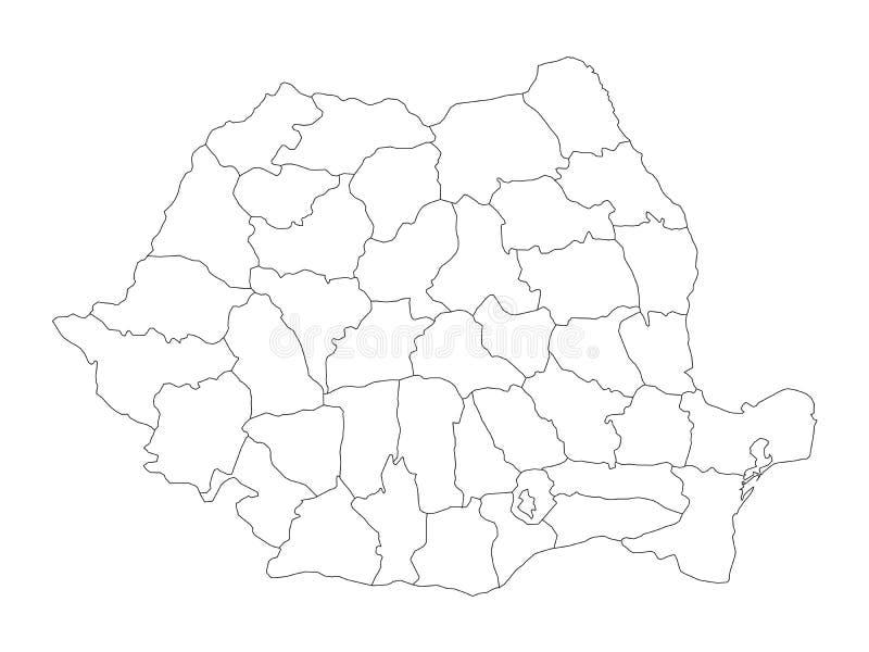 Administracyjni okręgi administracyjni Rumunia Wektorowa mapa cienki czarny kontur ilustracja wektor