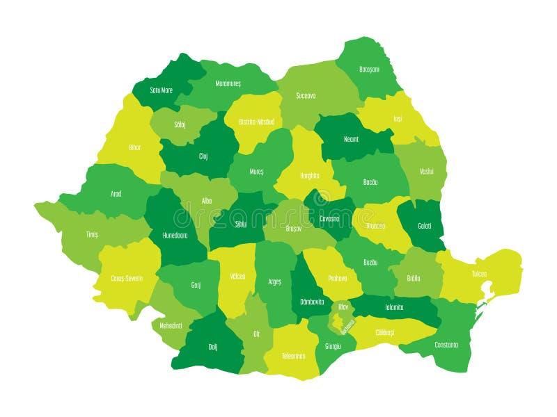 Administracyjni okręgi administracyjni Rumunia Wektorowa mapa w cztery cieniach zieleń royalty ilustracja