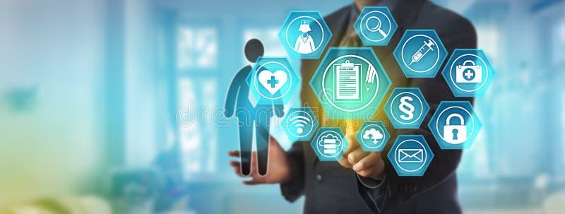 Administrador de dados Accessing Health Record imagens de stock royalty free