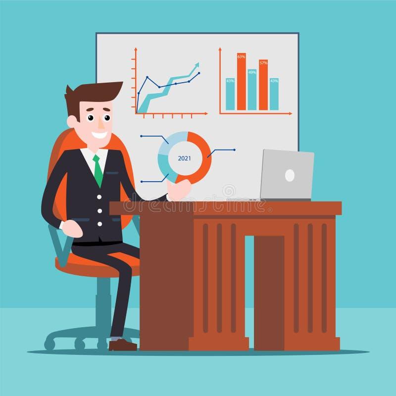 Administrador de oficinas que trabaja en el ordenador stock de ilustración