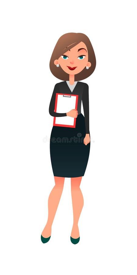 Administrador de oficinas de sexo femenino acertado joven Carácter plano de la secretaria de la mujer de la historieta elegante e stock de ilustración