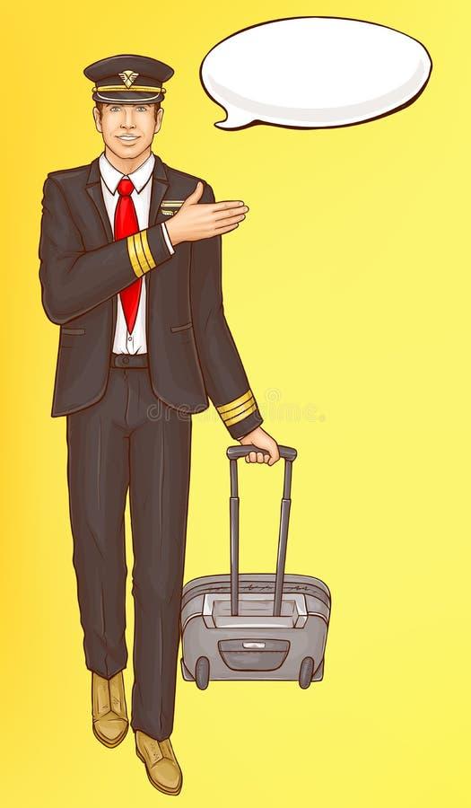 Administrador del arte pop, asistente de vuelo, hombre de la presentadora de aire ilustración del vector