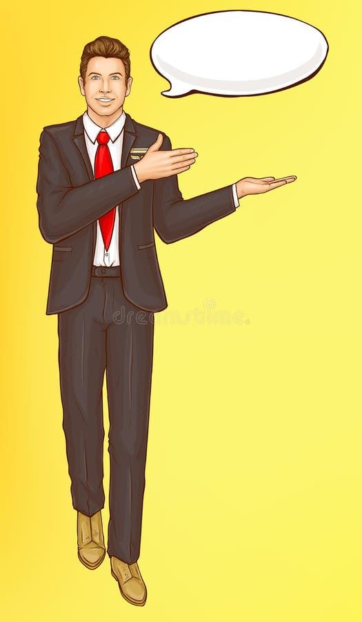 Administrador del arte pop, asistente de vuelo, hombre de la presentadora de aire stock de ilustración