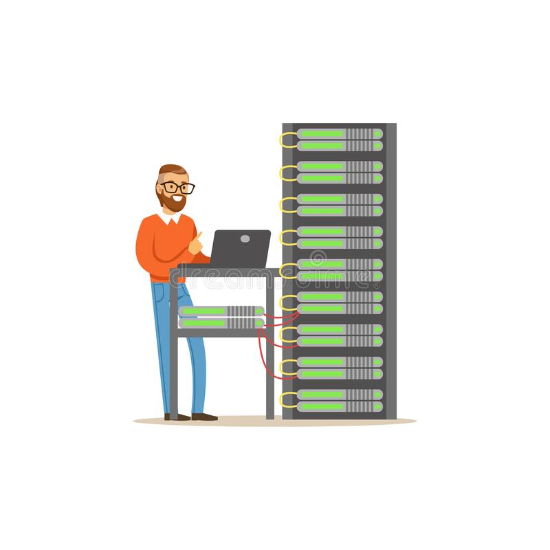 Administrador del ingeniero de la red que trabaja en centro de datos usando el ordenador portátil para analizar el sistema, vecto libre illustration
