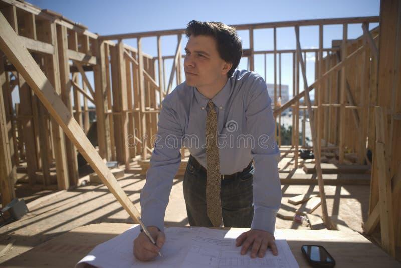 Administrador del sitio With Building Plans foto de archivo