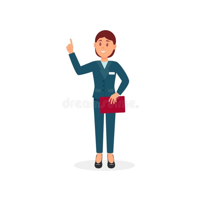 Administrador do hotel ou gerente da recepção com dobrador vermelho à disposição Jovem mulher no terno formal Projeto liso do vet ilustração do vetor