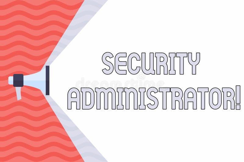 Administratör för handskrifttextsäkerhet Begrepp som betyder demonstrering som administrerar användaretillträdesrätter till royaltyfri illustrationer