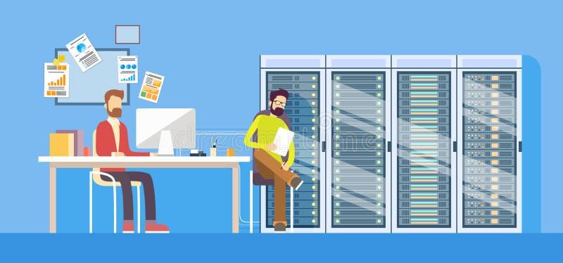 Administratör Sitting Desk Hosting för man för arbetare för funktionsduglig datorhall för folk teknisk stock illustrationer