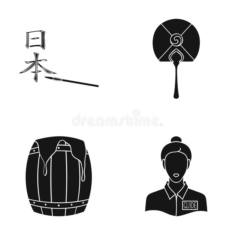 Administratör, yrke, turism och annan rengöringsduksymbol i svart stil lagring sötma, flickasymboler i uppsättningsamling royaltyfri illustrationer