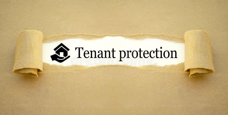 Administratie met pictogramhuis en hand met huurdersbescherming stock afbeelding
