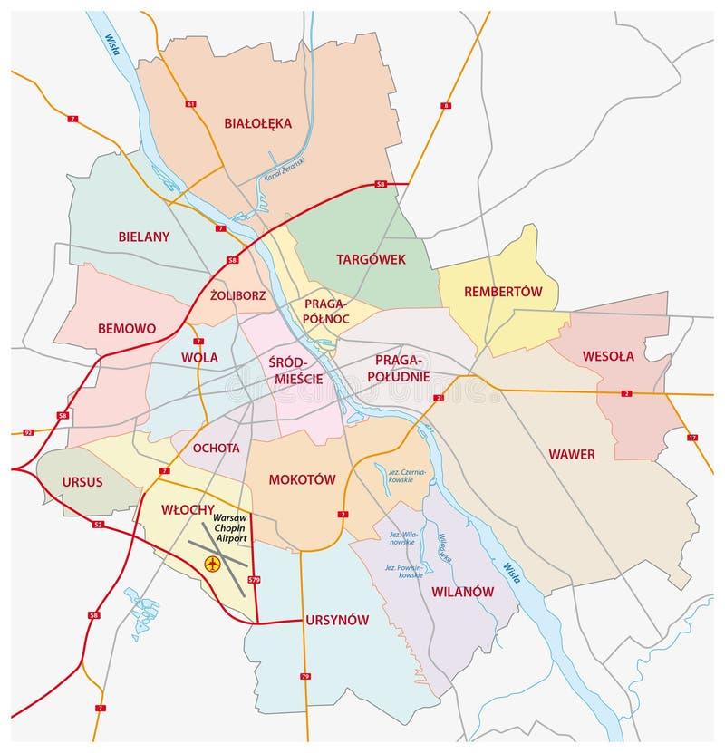 Administratief en wegenkaart Warshau vector illustratie