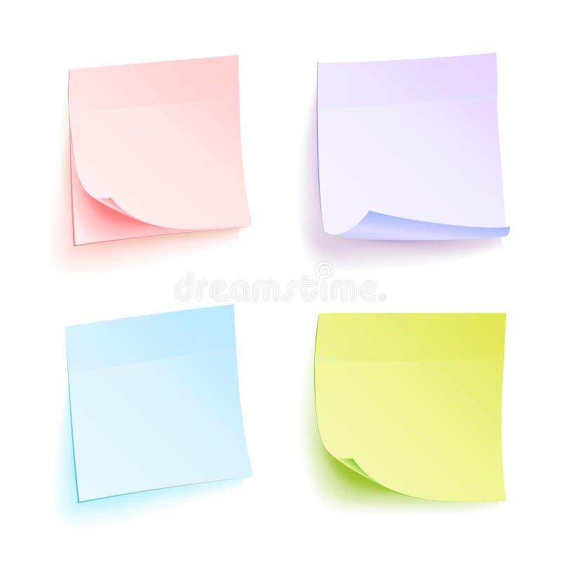 Administratienota's Geïsoleerde Vector Reeks kleurenbladen van notadocumenten Vier Heldere Kleverige Nota's royalty-vrije illustratie