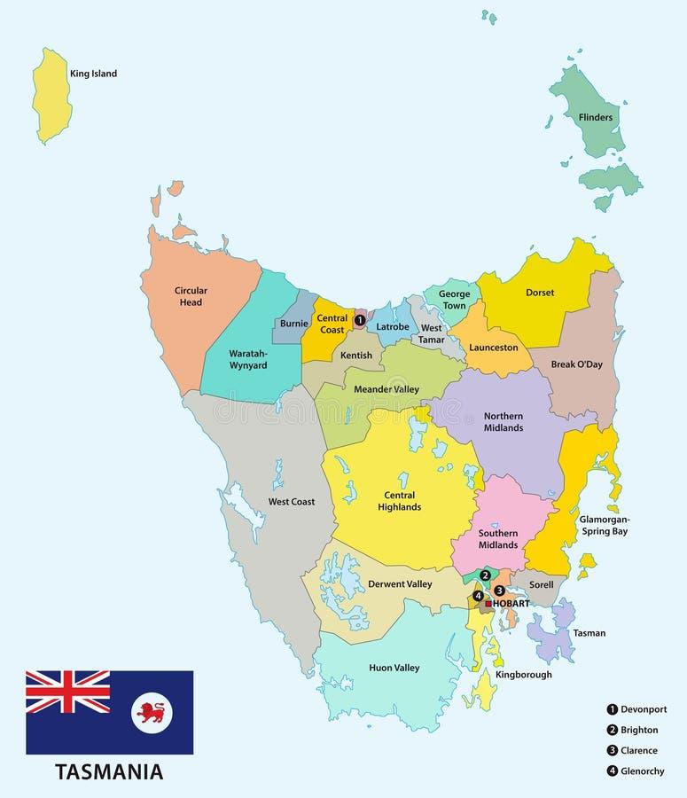 Administratieve en politieke kaart van de 29 lokale regeringsgebieden van Tasmanige met vlag, Australië stock illustratie