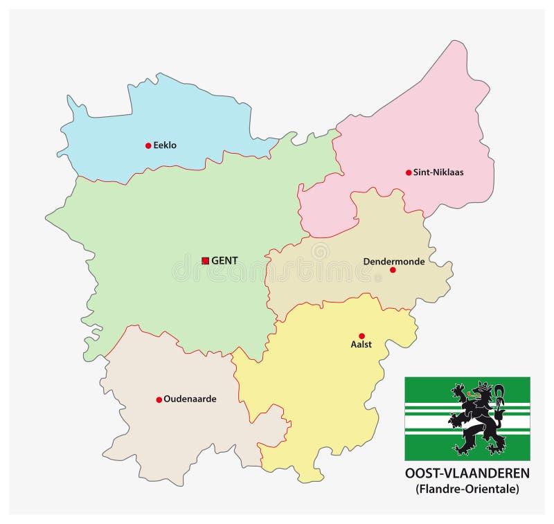 Administratieve en politieke vectorkaart van Belgisch provincie Oost-Vlaanderen met vlag stock illustratie