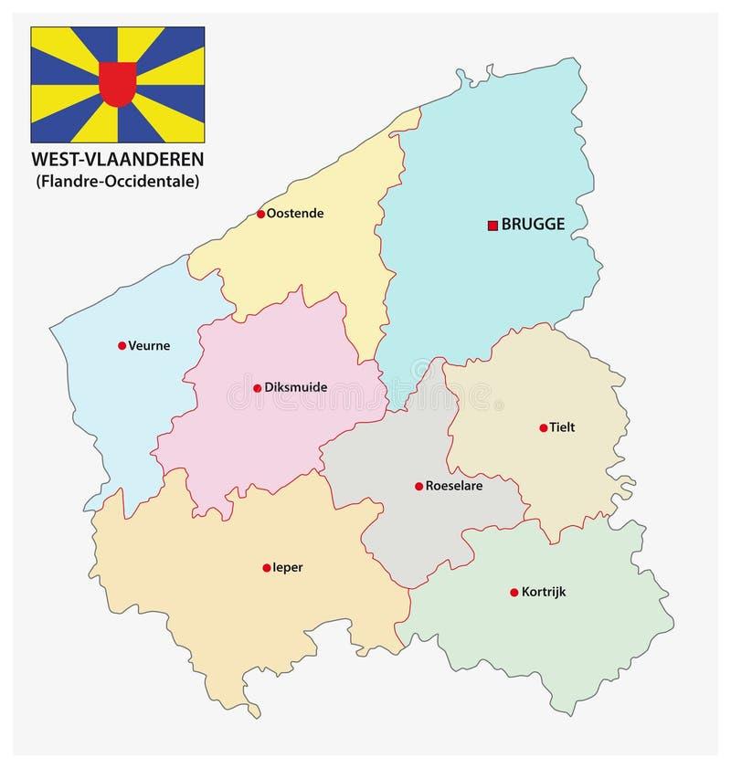 Administratieve en politieke vectorkaart van Belgisch provincie West-Vlaanderen met vlag vector illustratie