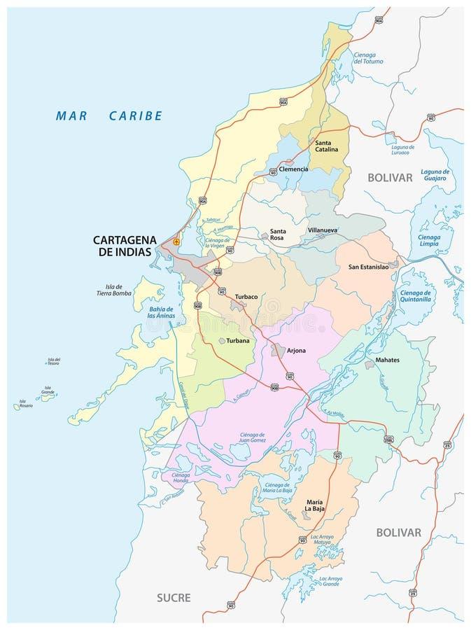 Administratif, politique et des routes dirigez la carte de la zone métropolitaine de Carthagène de Indias, Colombie illustration libre de droits