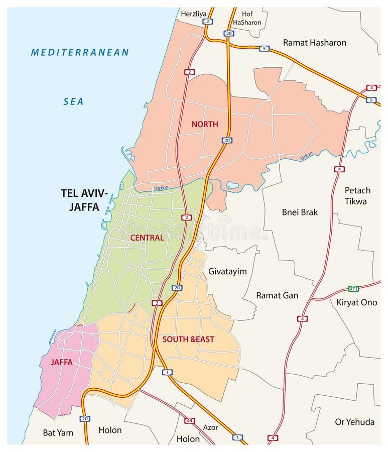 Administratif, routes et carte politique de la ville israélienne du téléphone Aviv-Jaffa illustration libre de droits