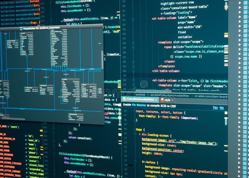 Administration av databas för programvara Arbetsflöde för programmerare Databasschema Programutveckling royaltyfria foton