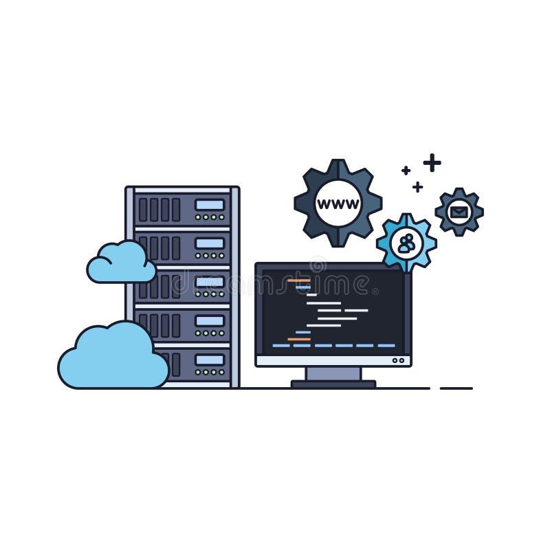 Administration av varande värd service för moln vektor illustrationer