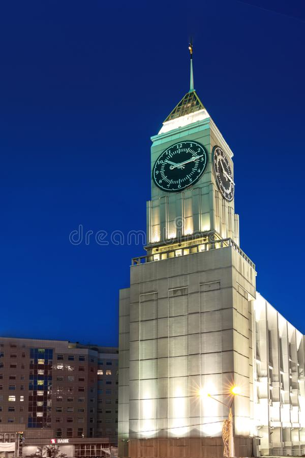 Krasnoyarsk, Russia. 21 july 2019: The administration of the Krasnoyarsk city and business center in Europe. lock tower. The administration of the Krasnoyarsk stock photography
