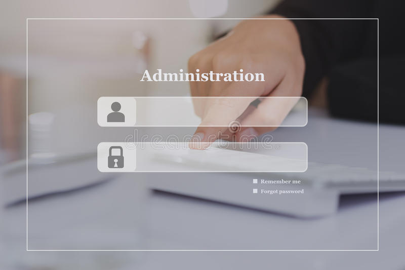 Administration login screen background on the touch keyboard.  stock photos