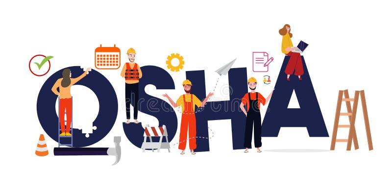Administration OSHA f?r yrkes- s?kerhet och h?lso Säker miljöreglering för arbetare stock illustrationer