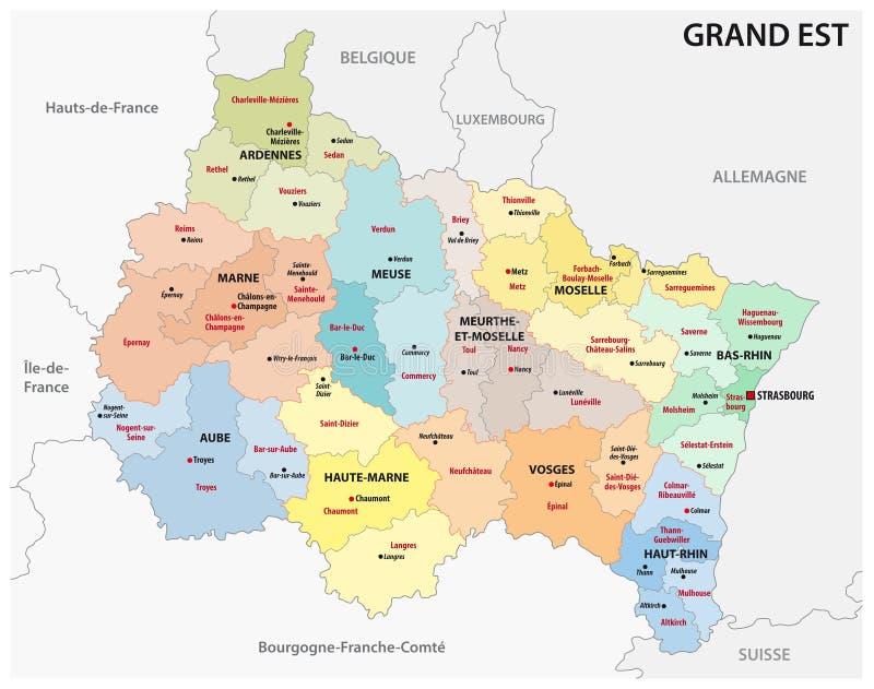 Administrativ översikt av den nya franska regionen storslagen est vektor illustrationer