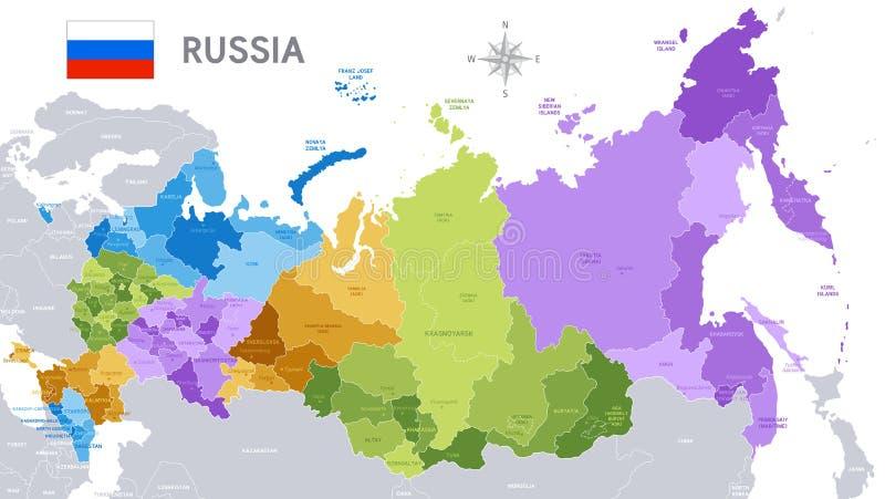 Administrativ översikt av rysk federation royaltyfri illustrationer