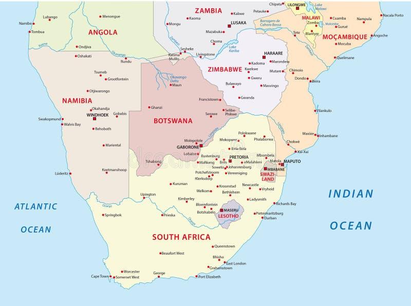 Administrativ översikt av staterna av sydliga Afrika vektor illustrationer