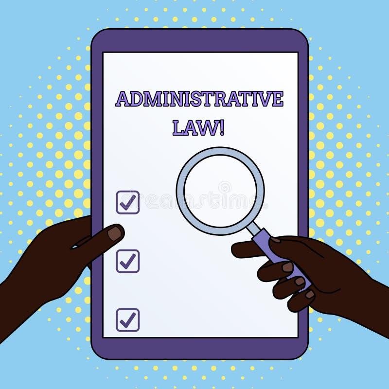 Administrativ lag f?r ordhandstiltext Aff?rsid? f?r kropp av regelreglementebest?llningar som skapas av en regering vektor illustrationer