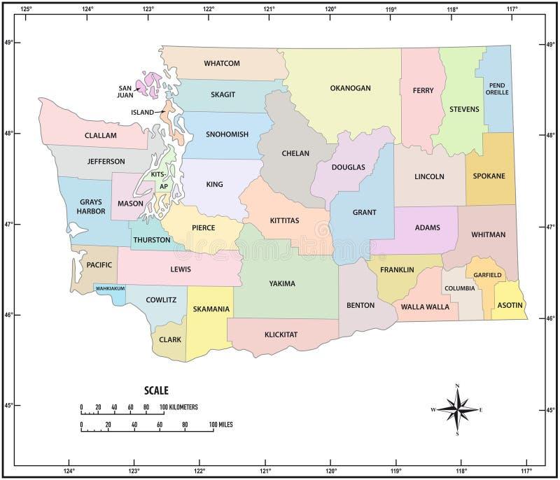 Administrativ och politisk vektoröversikt för staten Washingtonöversikt i färg royaltyfri illustrationer