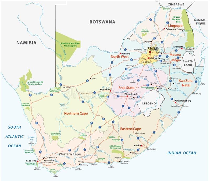 Administrativ och politisk vektoröversikt för Sydafrika väg, stock illustrationer