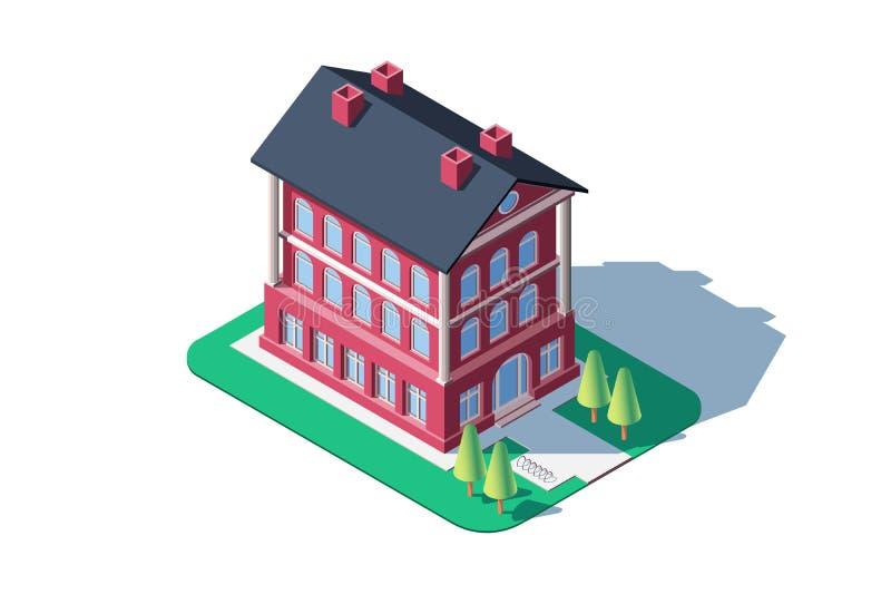 Administrativ röd byggnad vektor illustrationer