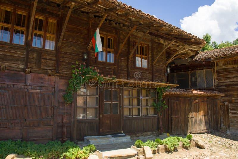 Administrative building in the Balkan village stock photos