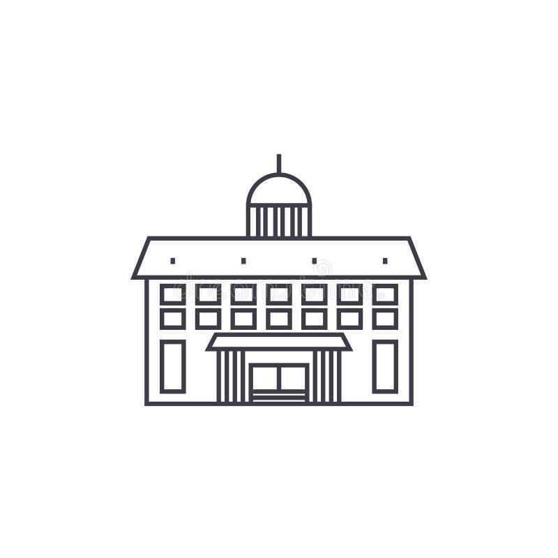 Administrative building thin line icon concept. Administrative building linear vector sign, symbol, illustration. stock illustration