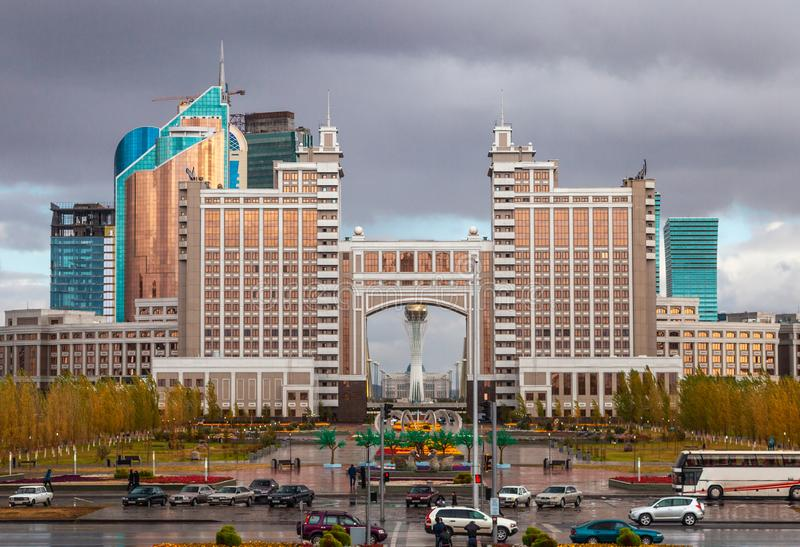 05.10.2011 KazMunaiGas and Transport Tower at the administrative and culture center of Nur-Sultan Astana, Kazakhstan. royalty free stock photo