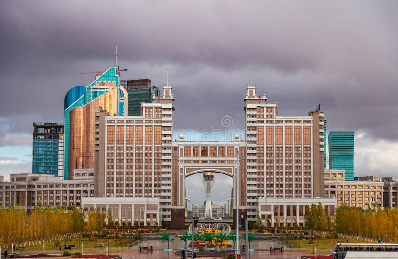 05.10.2011 KazMunaiGas and Transport Tower at the administrative and culture center of Nur-Sultan Astana, Kazakhstan. royalty free stock photography