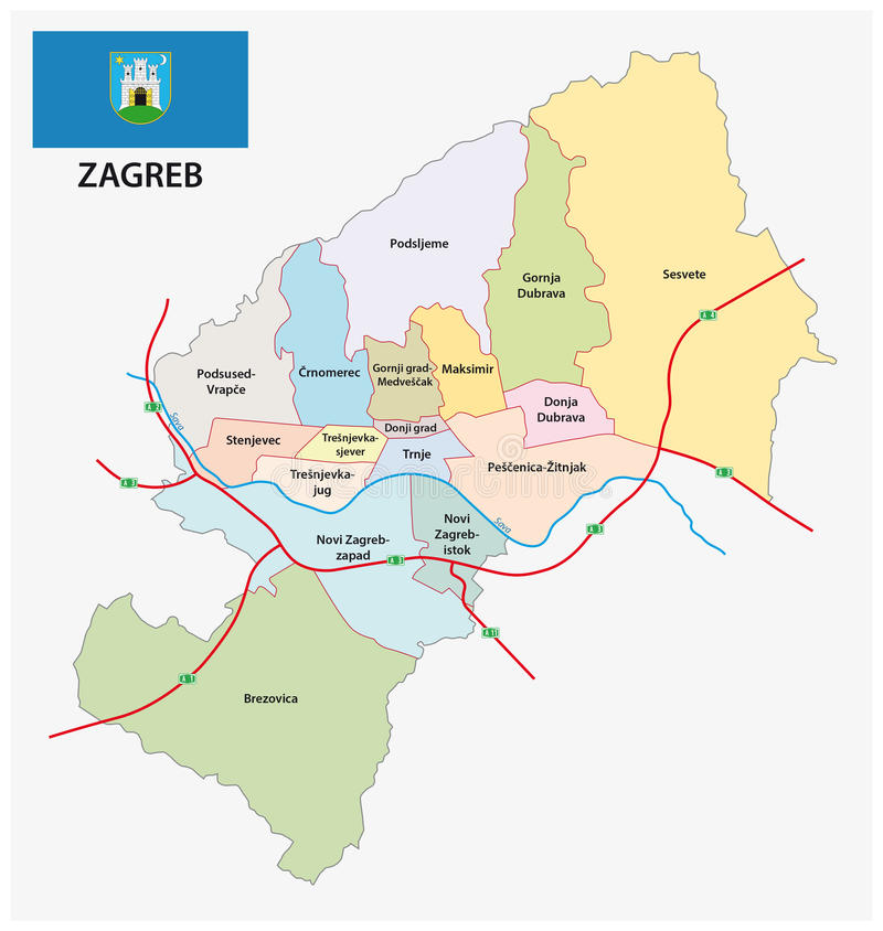 Administrative Division Map Of Croatia Capital Zagreb With Flag