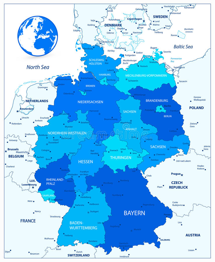 Administrative Divisions Blue Map Of Germany Stock Vector