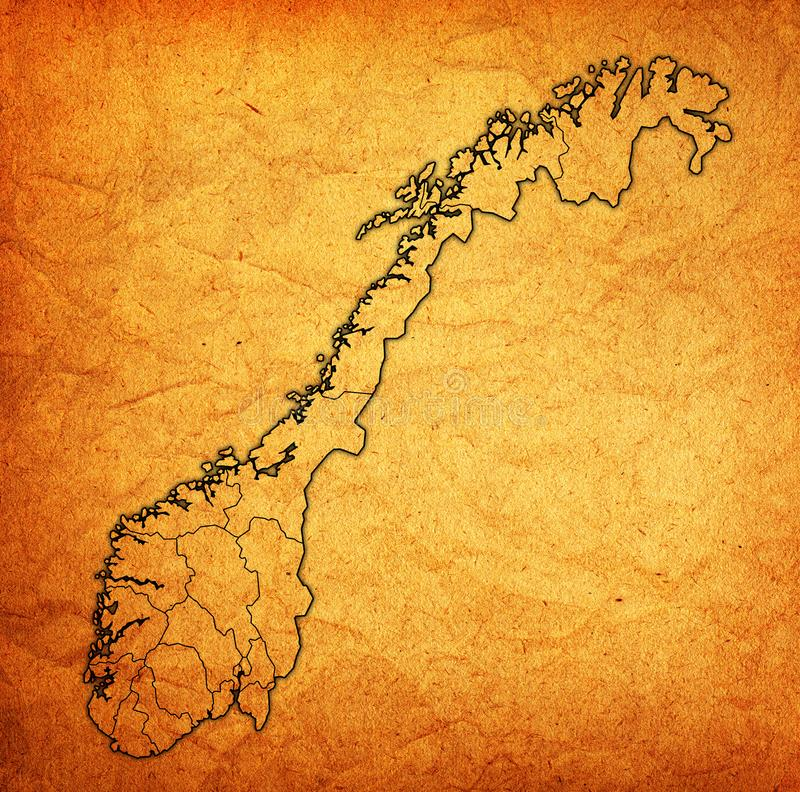 Regions On Administration Map Of Norway Stock Illustration