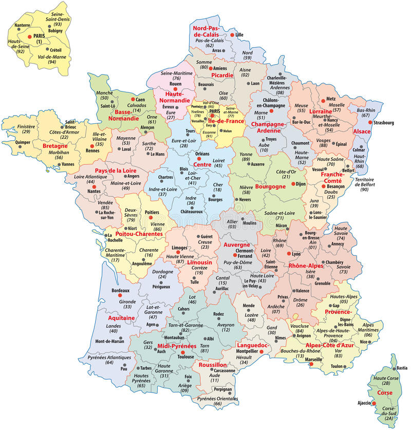 Administrative Divisions Of France Stock Vector Illustration of