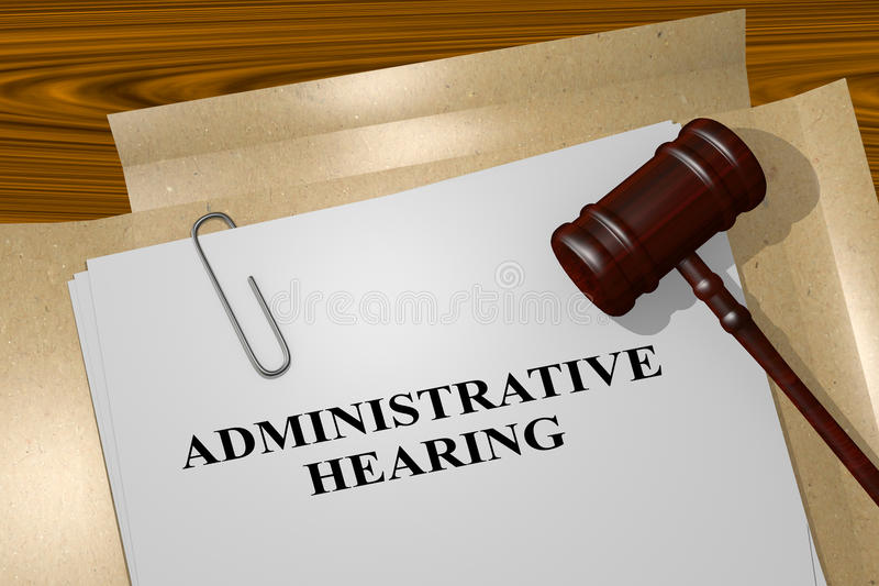 Administrative Hearing - legal concept. 3D illustration of ADMINISTRATIVE HEARING title on legal document royalty free illustration