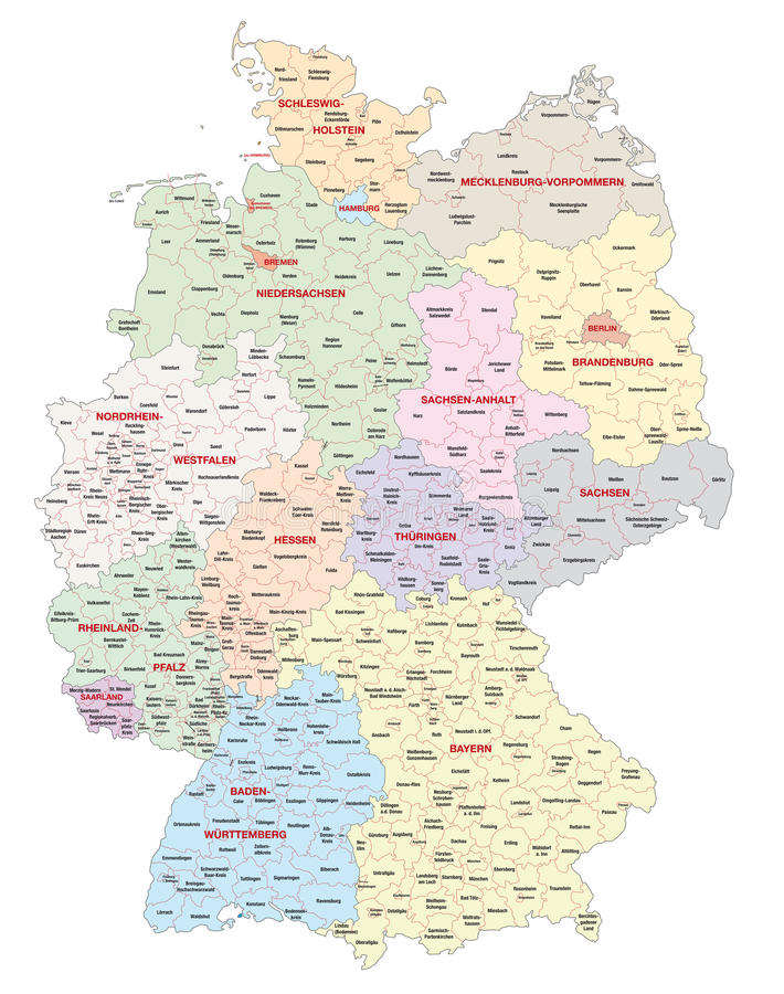 germany map with administrative boundaries regions counties