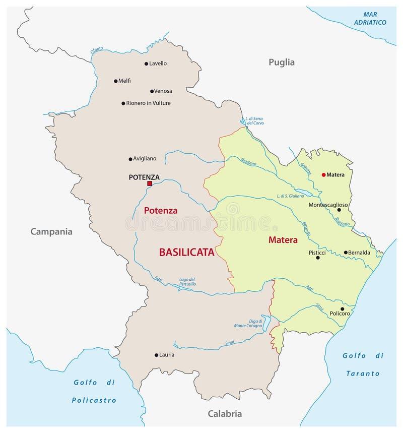 Administrative Map Of The Italian Region Basilicata Stock Vector