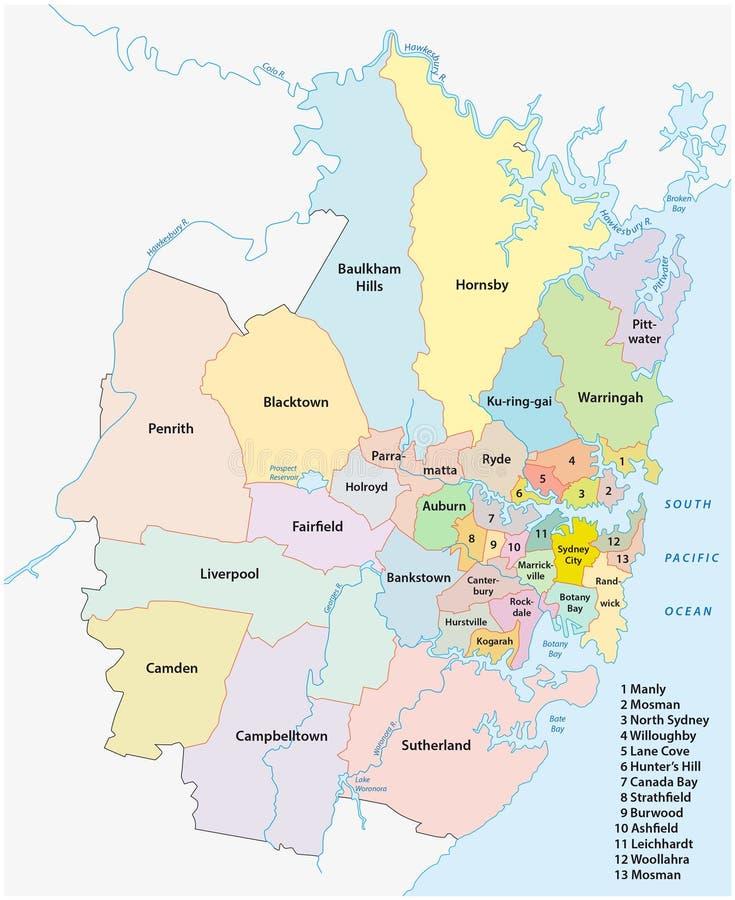 Administrative map sydney stock illustration Illustration of