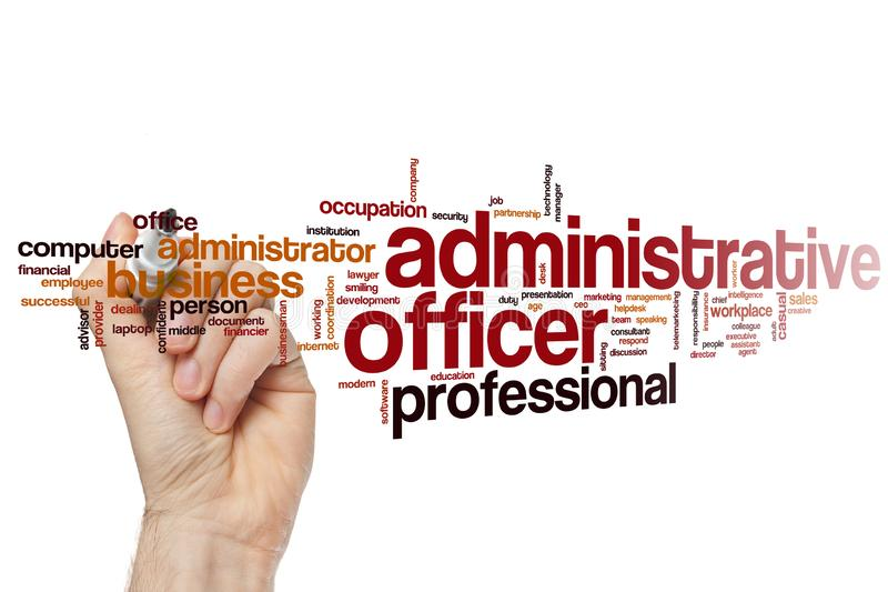 Administrative officer word cloud royalty free stock photography