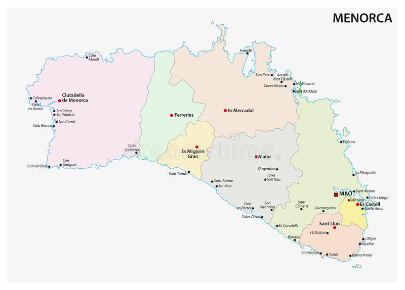 Administrative and political map of the Spanish Balearic Iceland of Menorca. Administrative and political vector map of the Spanish Balearic Iceland of Menorca stock illustration