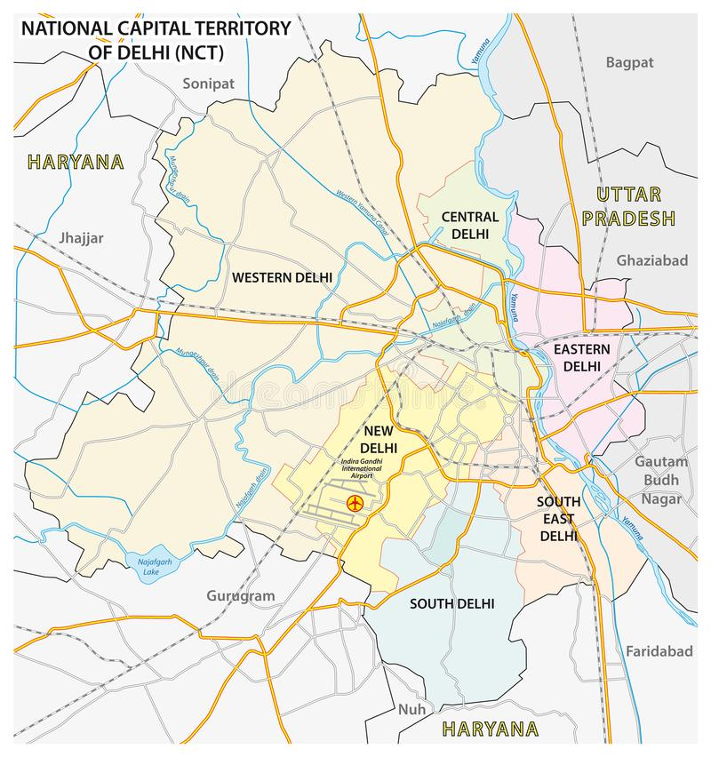 Administrative, political and street map of the National Capital Territory of Delhi NCT.  stock illustration