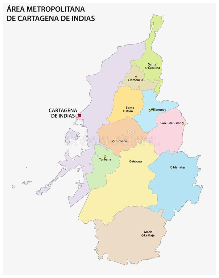 Administrative and political vector map of the metropolitan area of cartagena de indias, colombia.  vector illustration